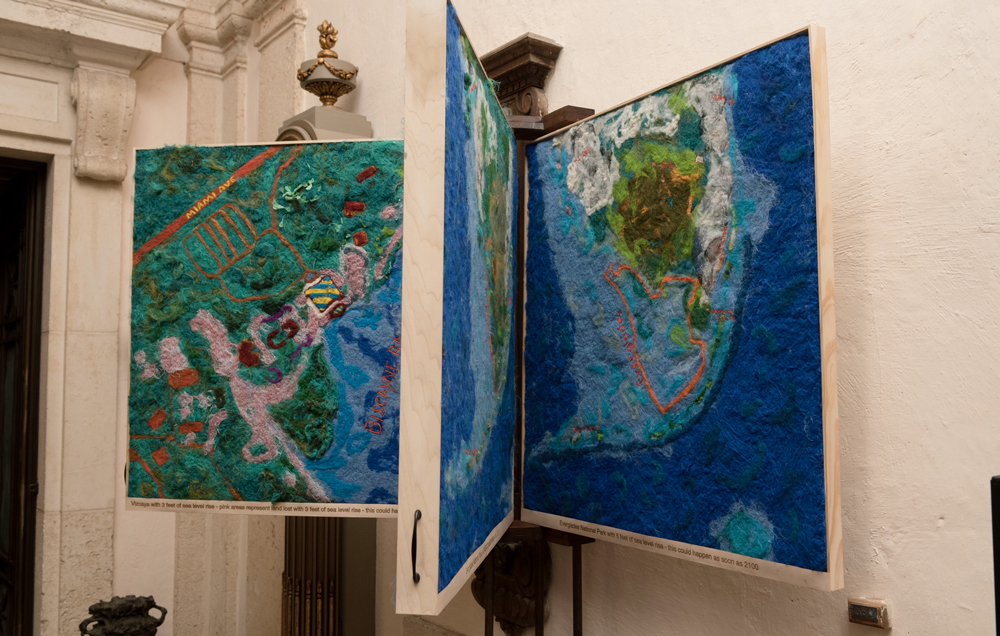 Lost Spaces Vizcaya Museum Art Show Opening. These is the felt maps art installation by Lucinda Linderman showing the sea level rise effects in South Florida.