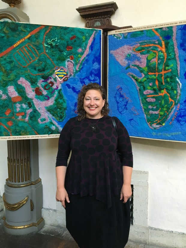 Vizcaya Museum Lost Spaces Art Show. Felt Map art pieces showing the sea level rise by Lucinda Linderman.