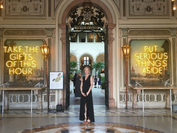 """Vizcaya Museum Lost Spaces Art Show. Neon Sign installation by artist Amanda Keeley. """"Savor the gifts of this hour. Put serious things aside."""""""