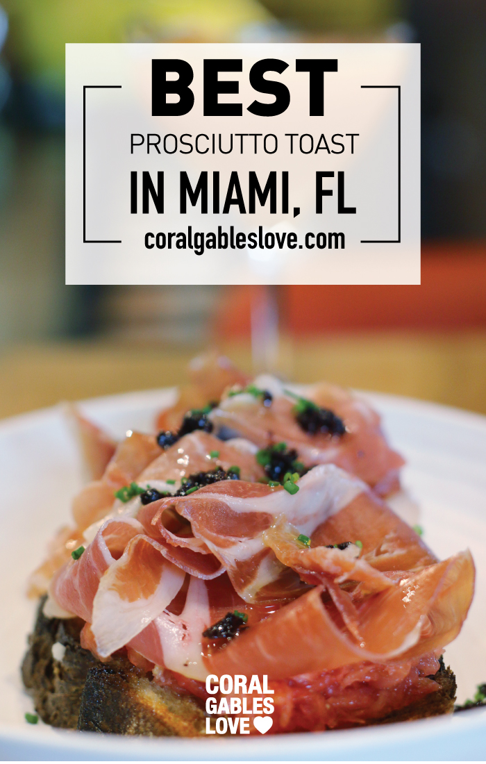 Pan Con Tomate topped with prosciutto at Glass & Vine in Miami. Click to read more or pin and save for later! Brunch Miami   Coral Gables   Coconut Grove