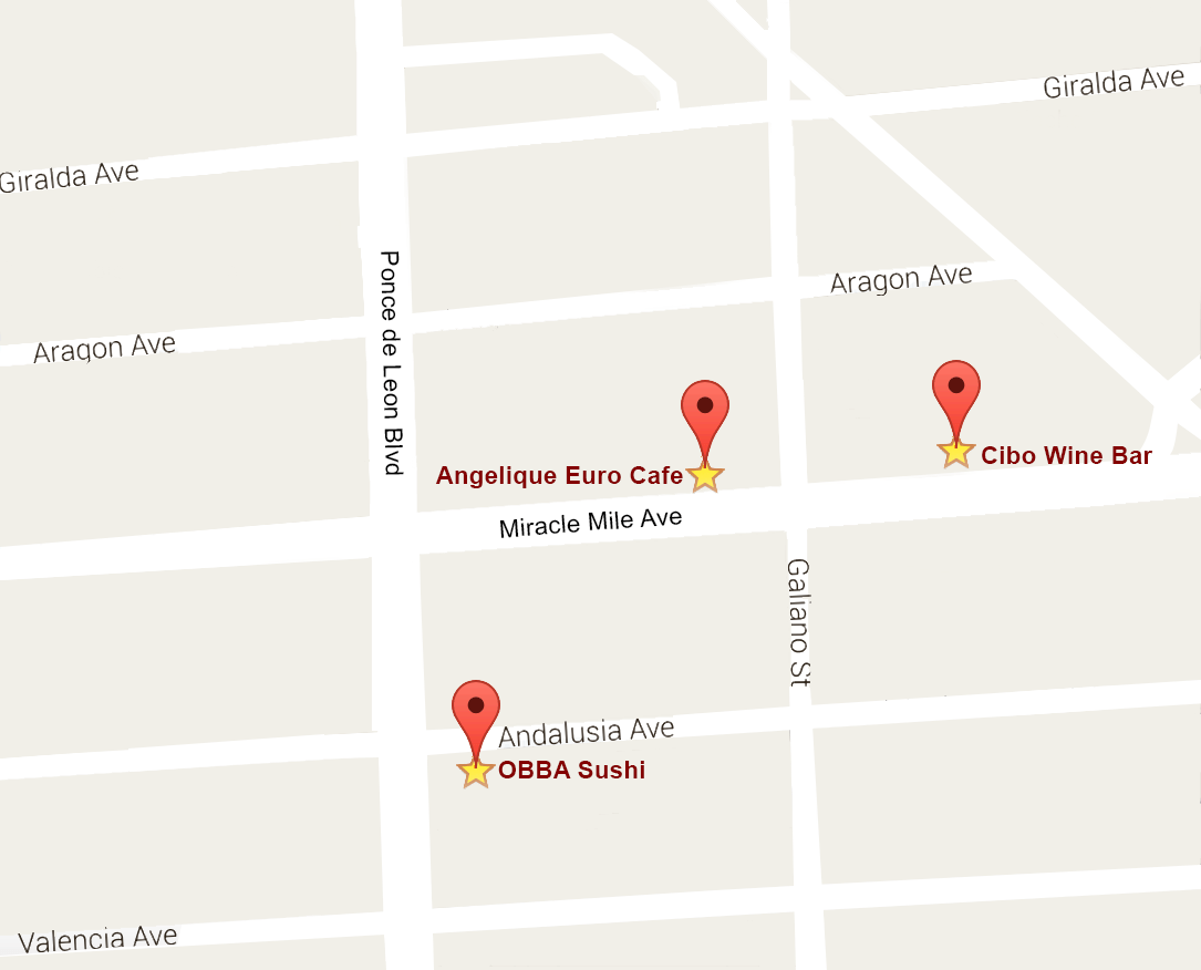 Coral Gables Food Tour September 2016 Map