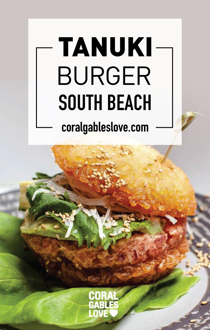 Tanuki Burger from Tanuki South Beach sushi restaurant. Tuna tartar with crunchy rice buns. Miami restaurants