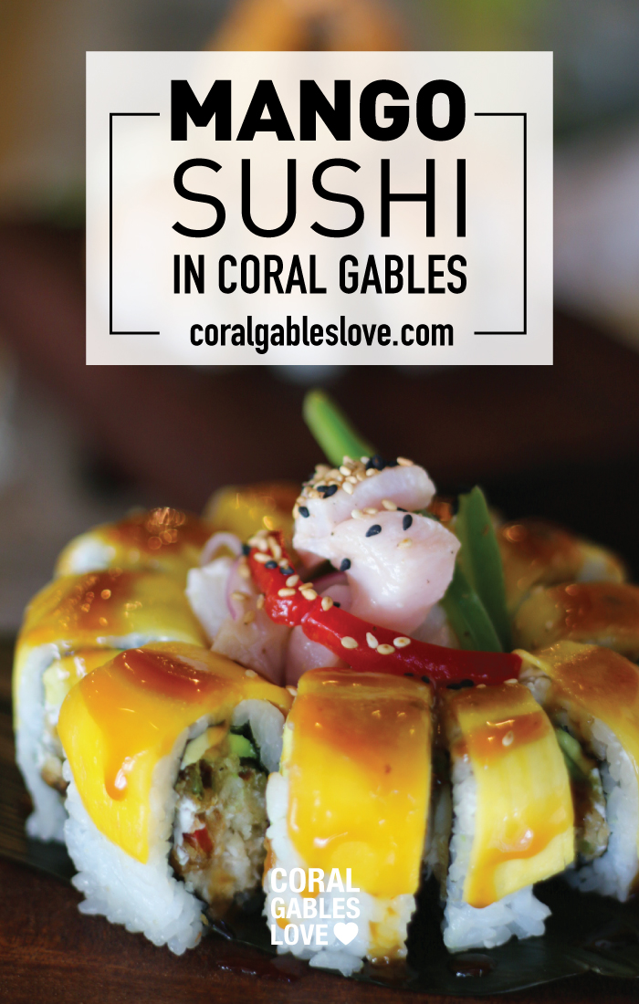 Sushi Kong Mango Tango sushi roll with ceviche. Miami restaurant near Goral Gables, Florida.