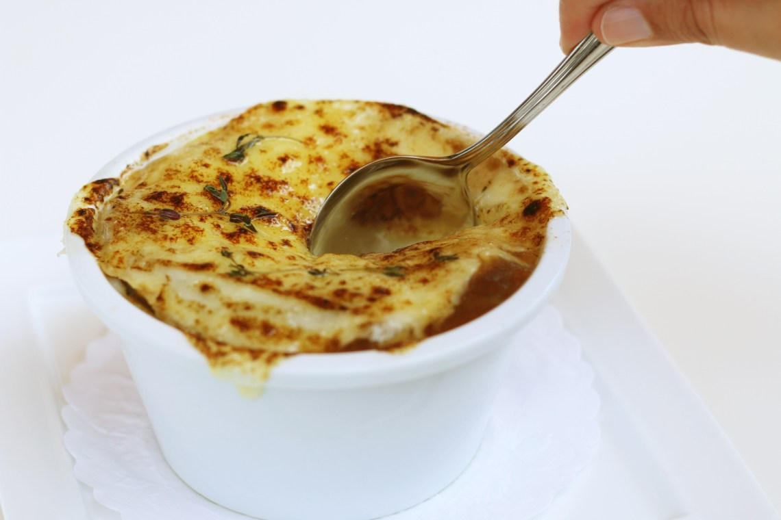 French Onion soup from Le Provençal the best French restaurant in Coral Gables. Miami, Florida.