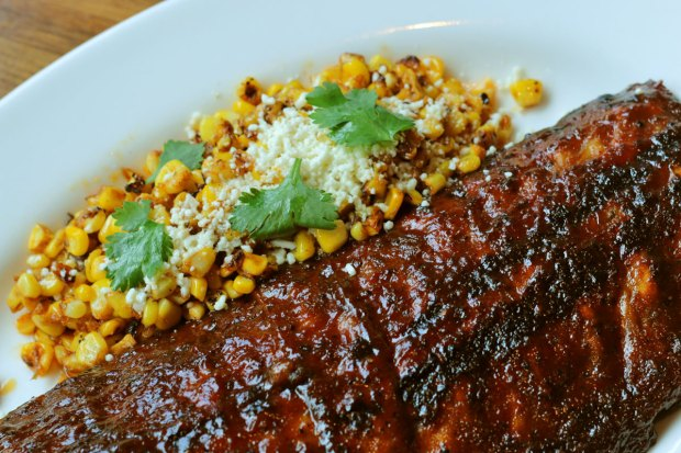 Doc B's Coral Gables BBQ ribs with elote corn