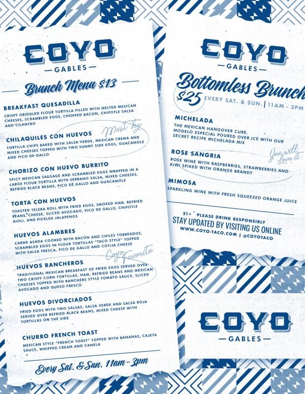 Coyo Taco Coral Gables Brunch Menu