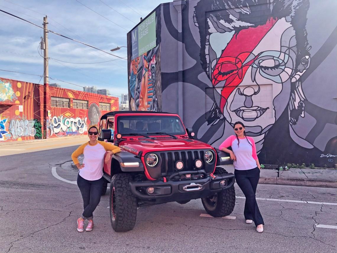 Jeep Wrangler Rubicon Exploring Wynwood murals - Miami, florida