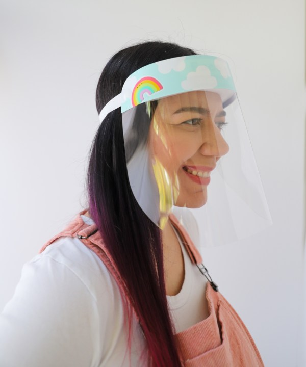Rainbow Clouds Colorful Face Shield in stock and ready to ship from Miami, Florida USA