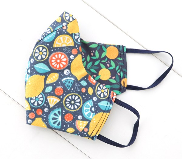 Reversible, double sided, Colorful, fun, and stylish fruity face masks for adults