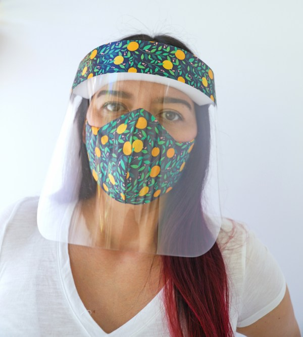 Oranges Face Shield with matching Oranges Reversible, double Sided Cotton Washable Adult Face Mask,Breathable Reversible Mask,Handmade in USA Face Mask