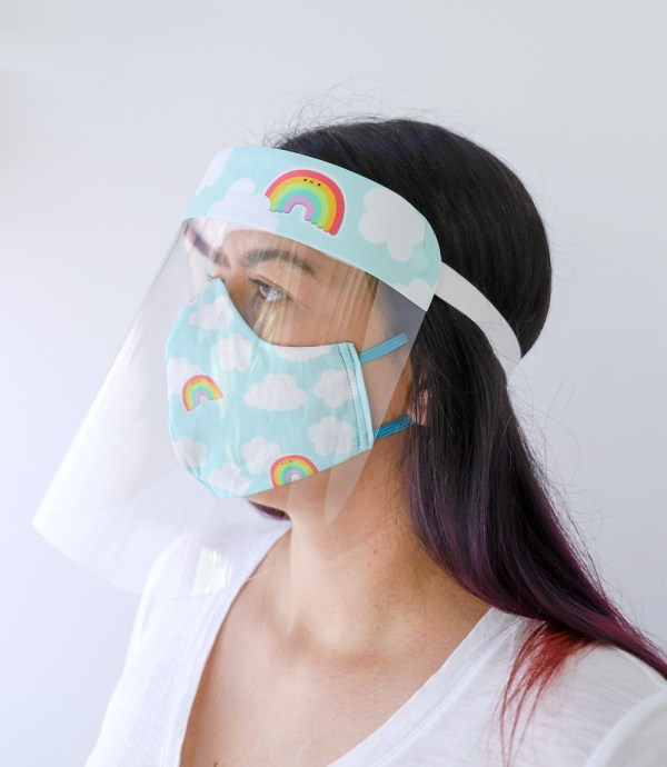 Rainbows Face Shield with matching Rainbows Reversible, double Sided Cotton Washable Adult Face Mask,Breathable Reversible Mask,Handmade in USA Face Mask