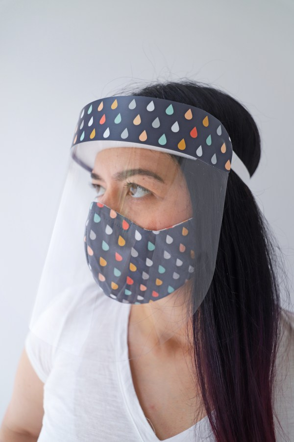 Gray colorful raindrops face shield with matching reversible drops face mask
