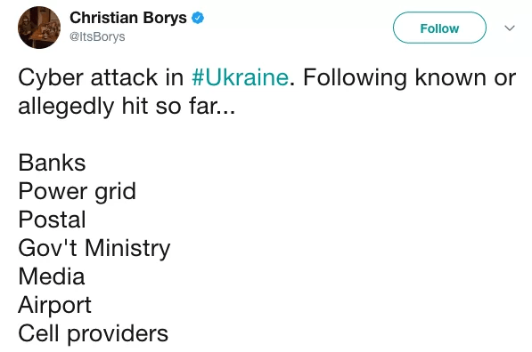 Twitter post about petya ransomware outbreak in the Ukraine
