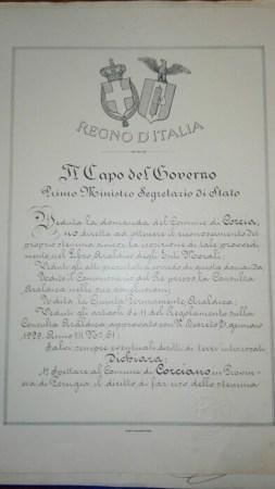 Dagli archivi spunta l'autorizzazione allo Stemma Civico. Era il 1929 ed a firmarlo fu Mussolini 5