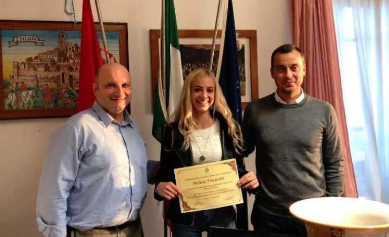 Il Comune incontra Melissa Fracassini, campionessa nazionale 2018 di mezzo fondo