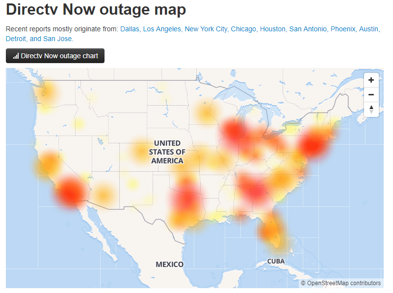 directv now outage map