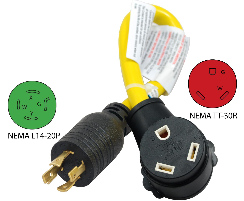 Conntek Amp Nema L14 20p To Tt 30r Pigtail Adapter