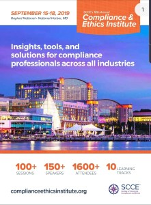 Client Alert:  SCCE 18th Annual Compliance & Ethics Institute – 15 to 18 September 2019