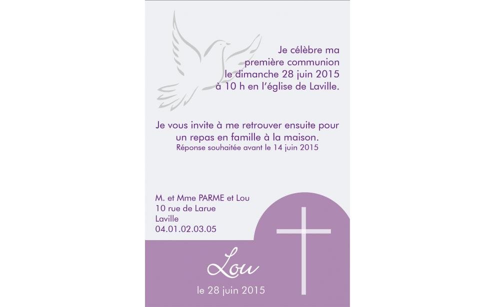 carte communion colombe