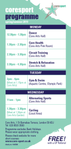 Core Sport Timetable Autumn/Winter 2019