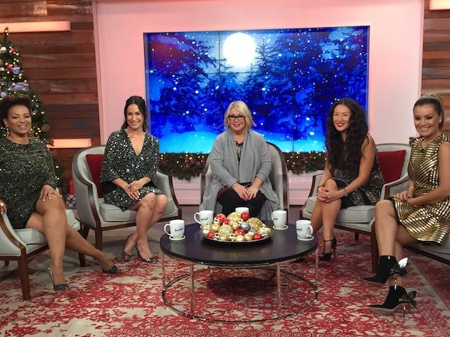 A Jann Arden Christmas at The Social co-hosts Traci Melchor, Cynthia Loyst, Jann Arden, Lainey Lui and Melissa Grelo on set. Photo by Cherryl Bird