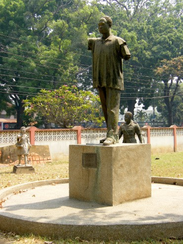 A monument to a Ghanaian leader standing on a pedestal