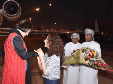 Prof. Homa Hoodfar greeted by niece Amanda Ghahremani after landing in Oman Sept 26