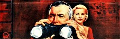 Jimmy Stewart peers through binoculars while Grace Kelly stands behind him in the original drawn movie poster from Rear Window.
