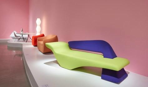 Designs by Karim: Lime Pierce sofa for Softline, Orange Kurv Sofa for Nienkamper, White Vapor Lamp for Studio Italia Design. Photo by Andre Rozon.