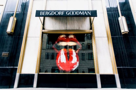 Rolling Stones red tongue and mouth logo in Bergdorf's window