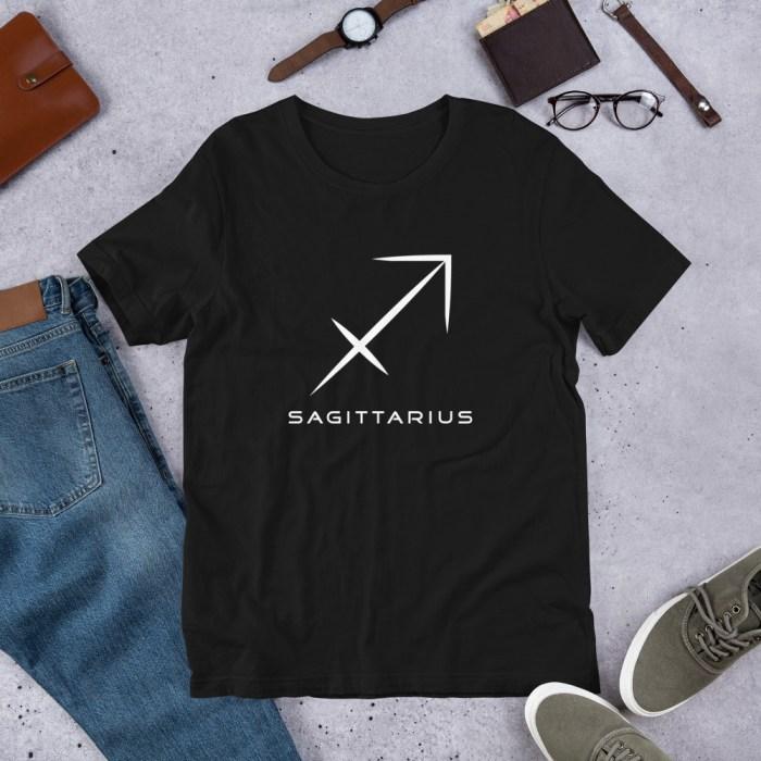 Sci-fi zodiac unisex black t-shirt Sagittarius