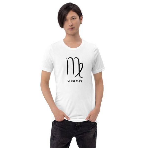 Sci-fi zodiac unisex white t-shirt Virgo on model