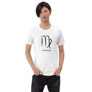 Sci-fi zodiac unisex white t-shirt Virgo on model