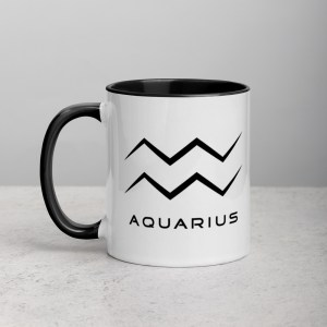Sci-fi zodiac collection white and black color accent coffee mug left side with Aquarius symbol