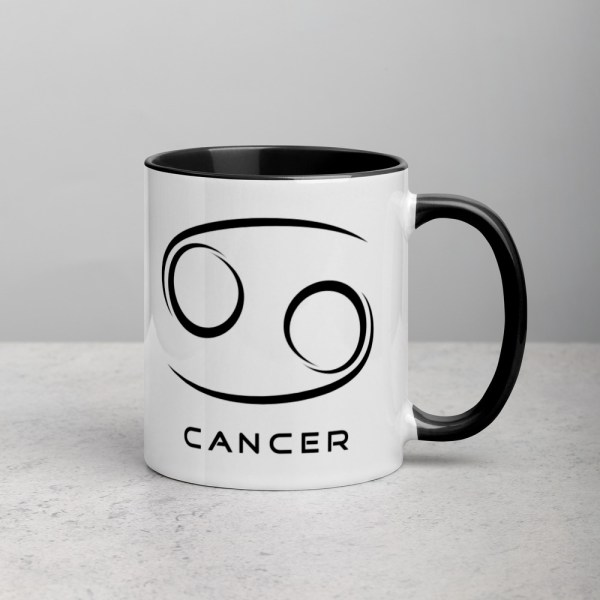 Sci-fi zodiac collection white and black color accent coffee mug right side with Cancer symbol