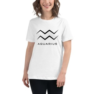 Sci-fi zodiac women's white t-shirt Aquarius on model