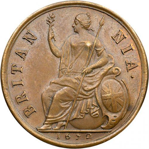 Farthing of Charles II (1630-1685). Britannia Seated on a Globe