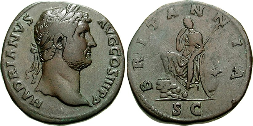 Sestertius of Hadrian - Britannia Seated with Spear and Shield