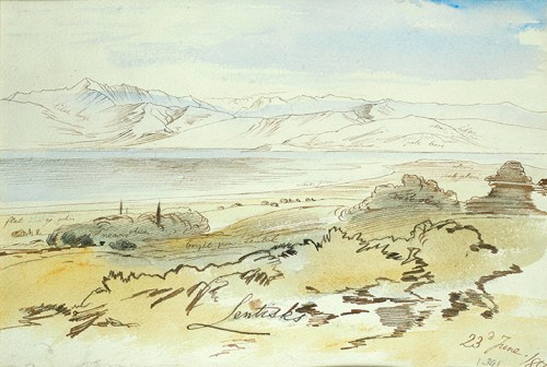 Edward Lear - View of the Albanian Mountains from Sfakera