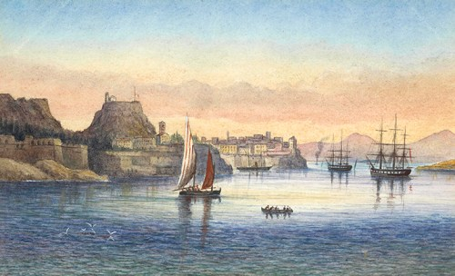 George Pechell-Sands - Fanciful view οf the Old Fortress from the Sea