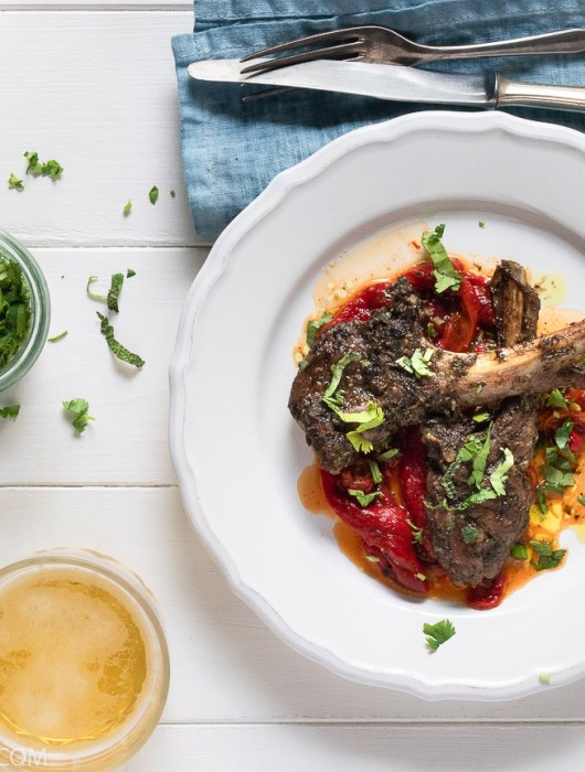 Middle Eastern Lamb Chops & Roasted Red Pepper Salad