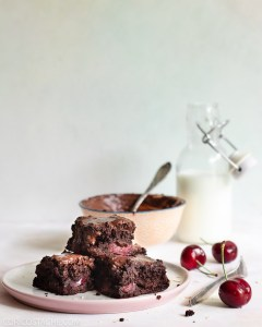 Easy Flourless Brownies with Cherry Filling