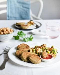 Chickpea Fritters, Zucchini & Tomato Sauce Dip