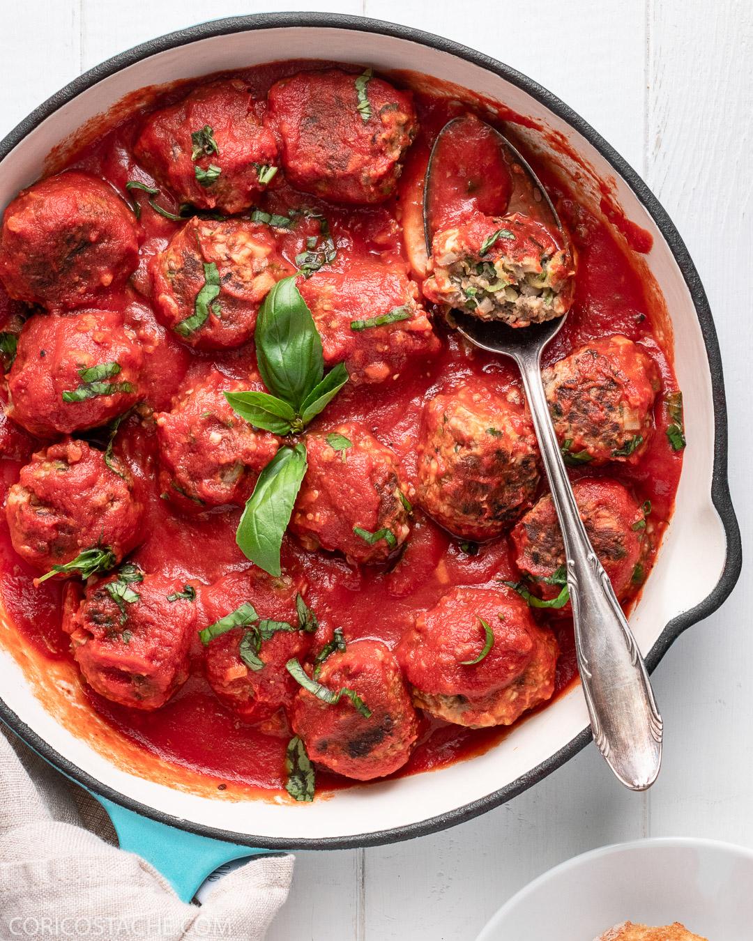Summer Veggie Balls in Tomatoes & Basil Sauce