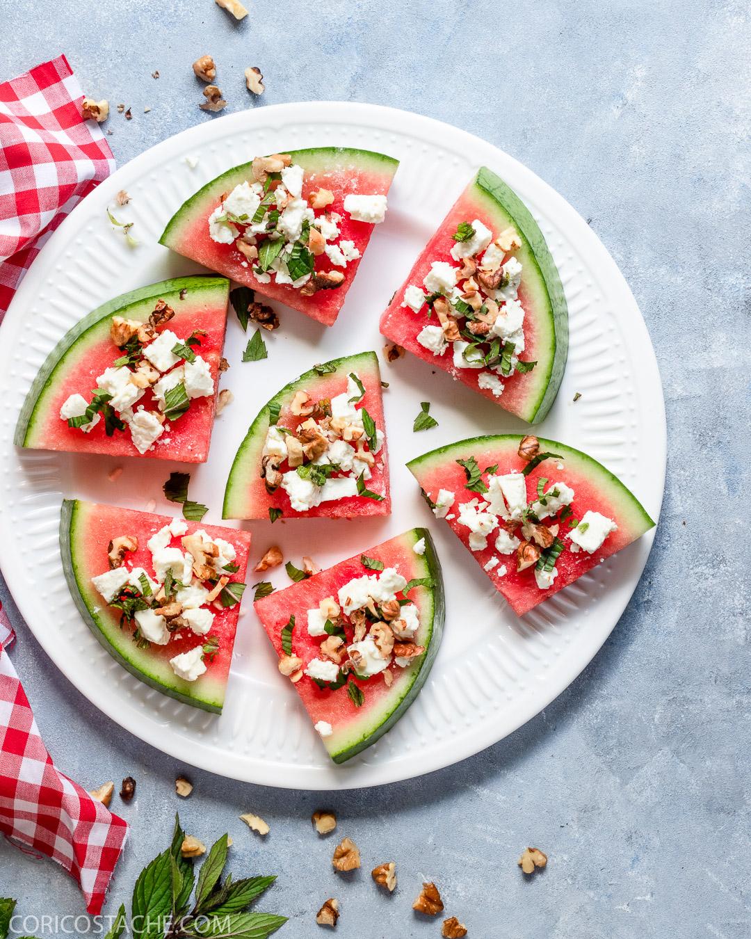 Watermelon Snack with Feta, Mint & Walnuts
