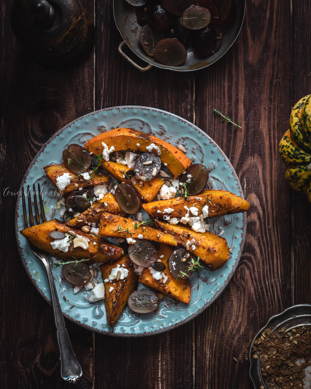 Roasted Pumpkin with Marinated Grapes & Feta