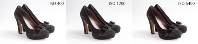 A képen különböző ISO beállításokkal készült fotók láthatók.