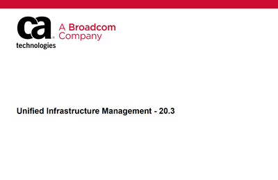 Unified Infrastructure Management - 20.3