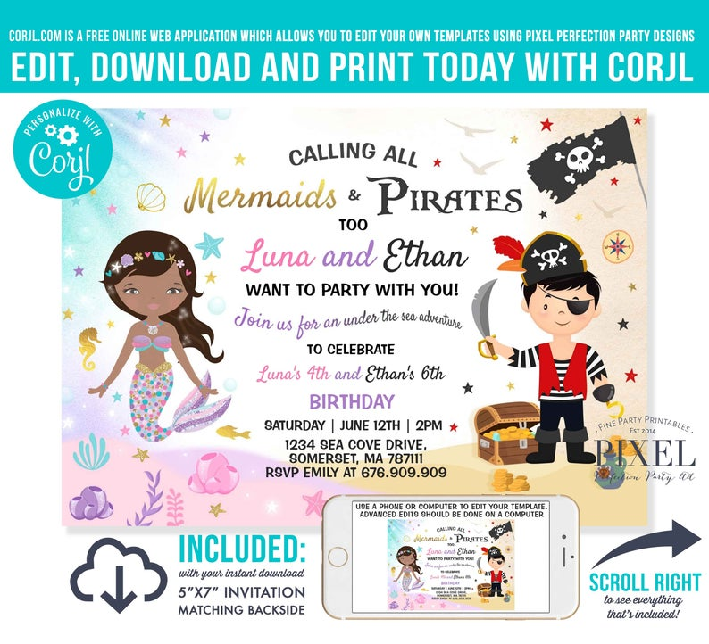 pirate party theme printable birthday