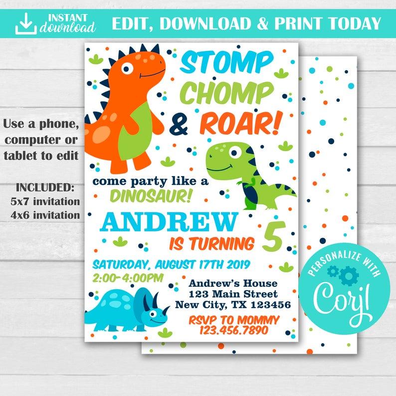 dinosaur birthday invitations edit
